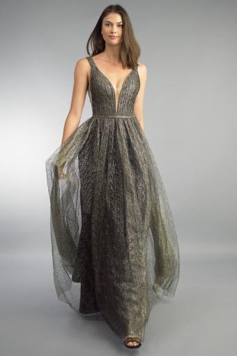 Basix black label metallic lace gown on sale