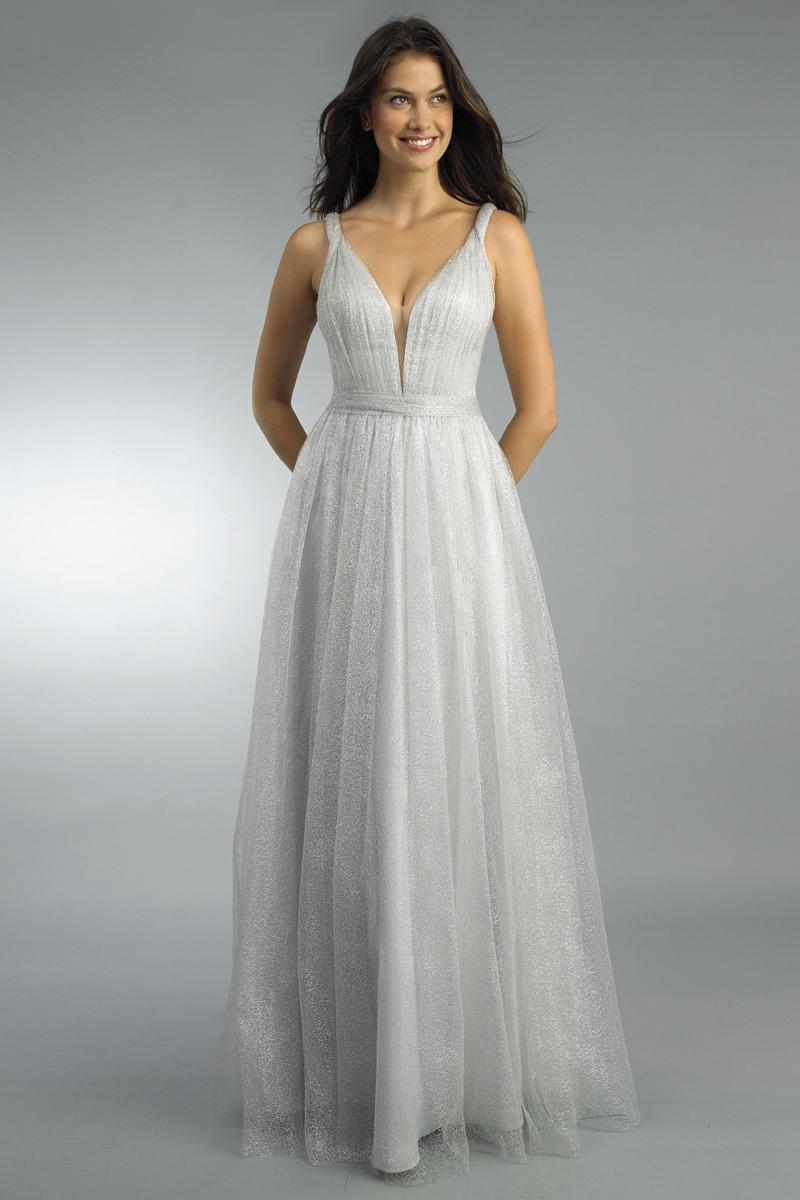 D9219L | Basix black label metallic lace gown on sale |