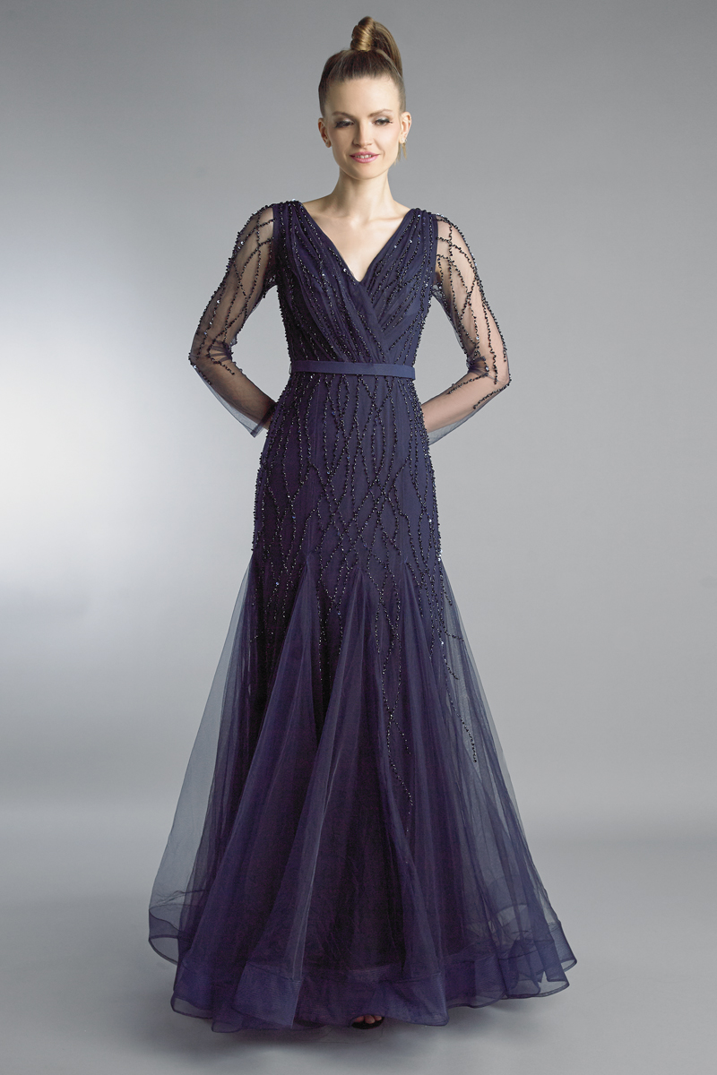 D9266L | Basix Black Label Beaded V neck long sleeve godet a line gown |