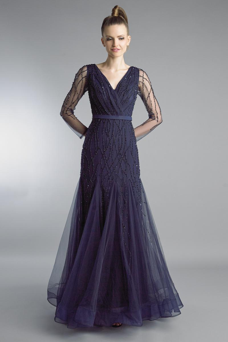 D9266L | Beaded V Neck Long Sleeve Godet A Line Gown |