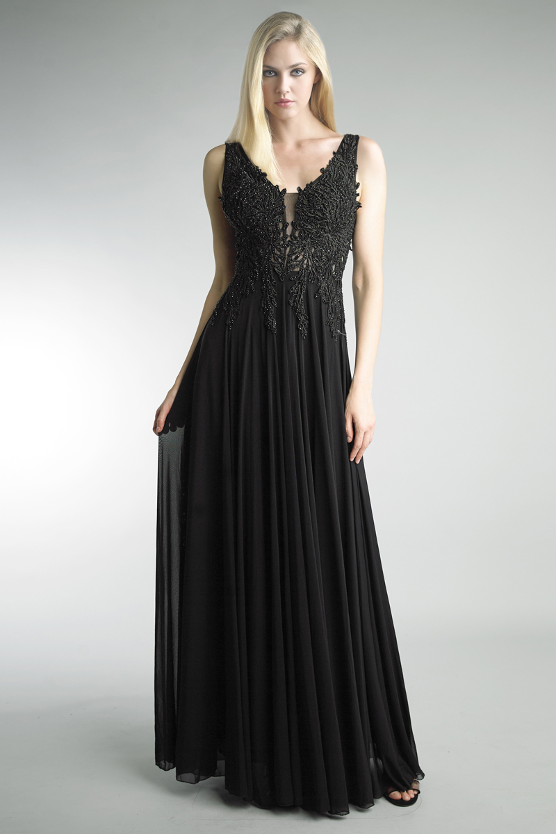 D9267L | Sleeveless beaded embroidered gown by basix black labe |