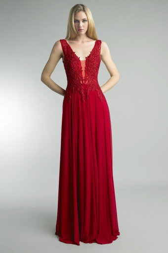 Sleeveless beaded embroidered gown by basix black labe