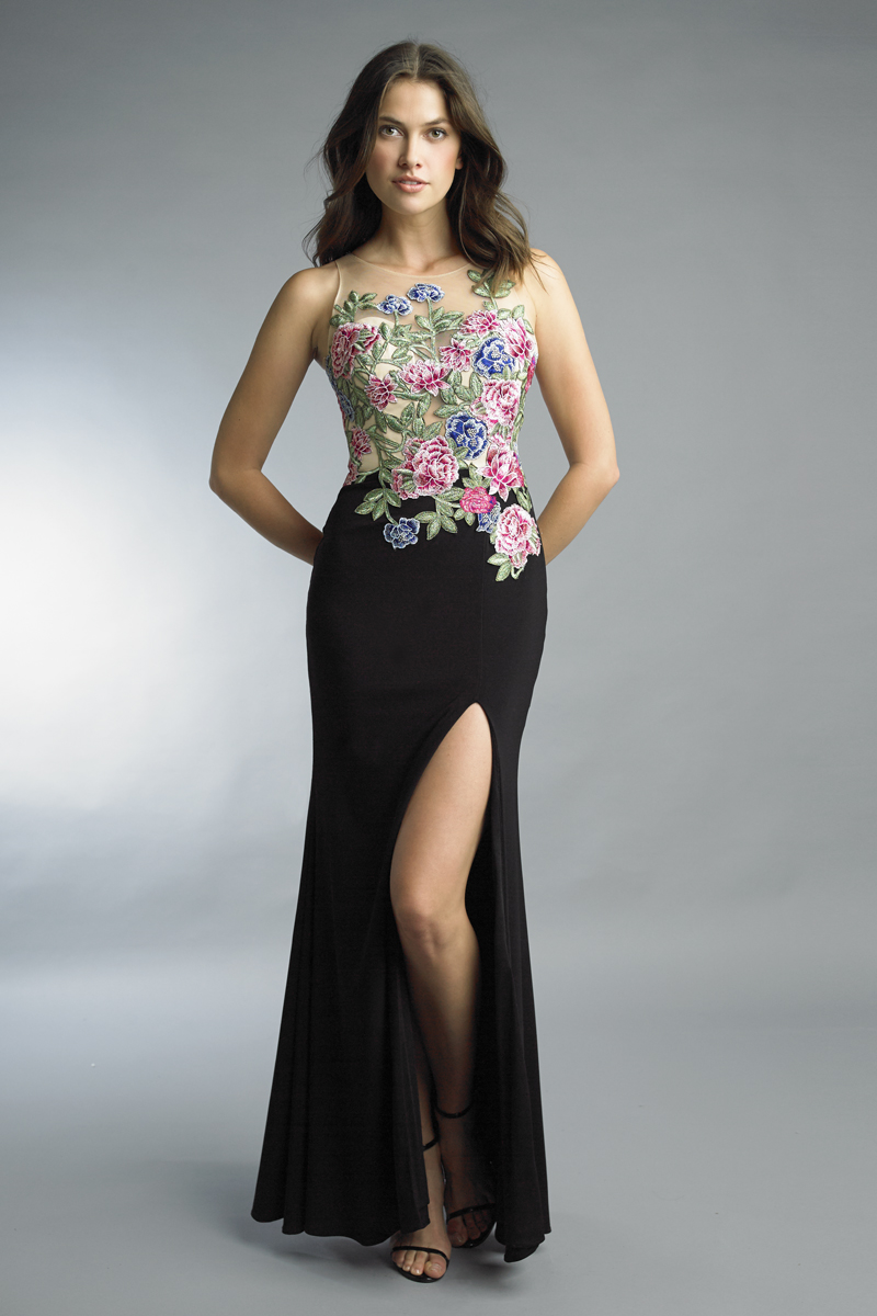 D9284L | Basix black label floral mermaid gown |