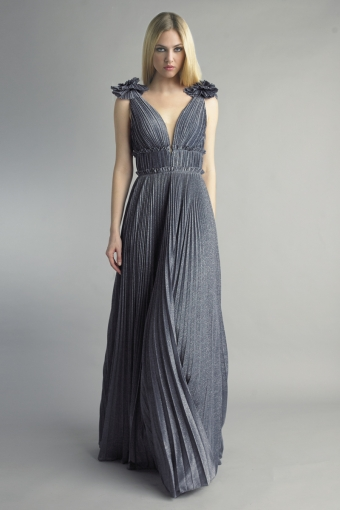 Basix Black Label multi pleated evening dress