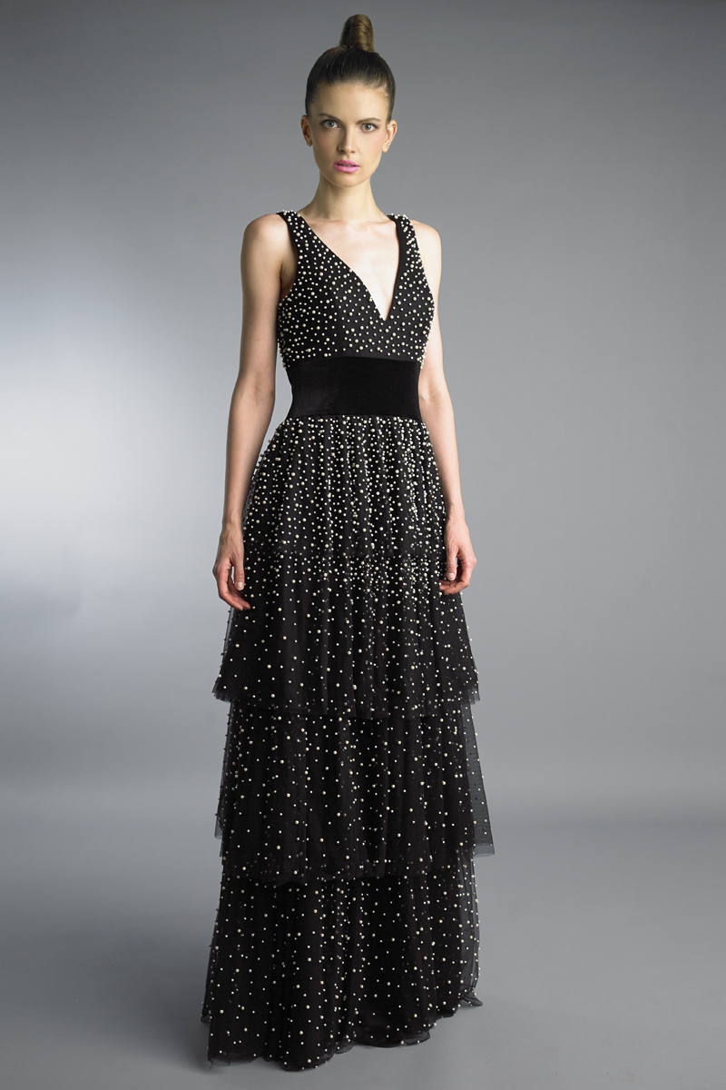 D9533L | Basix Black Label pearl embellished multi tier v neck gown |