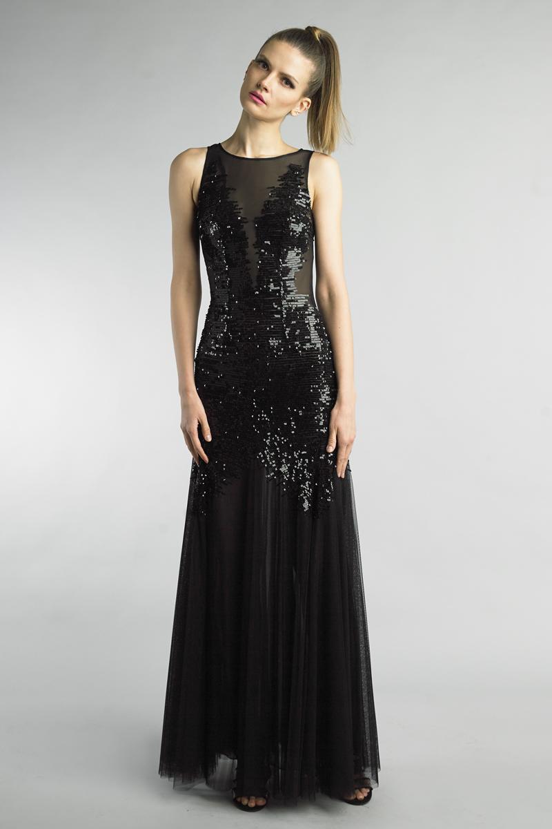 D9655L | Basix Black Label Sequined sleeveles evening dress |