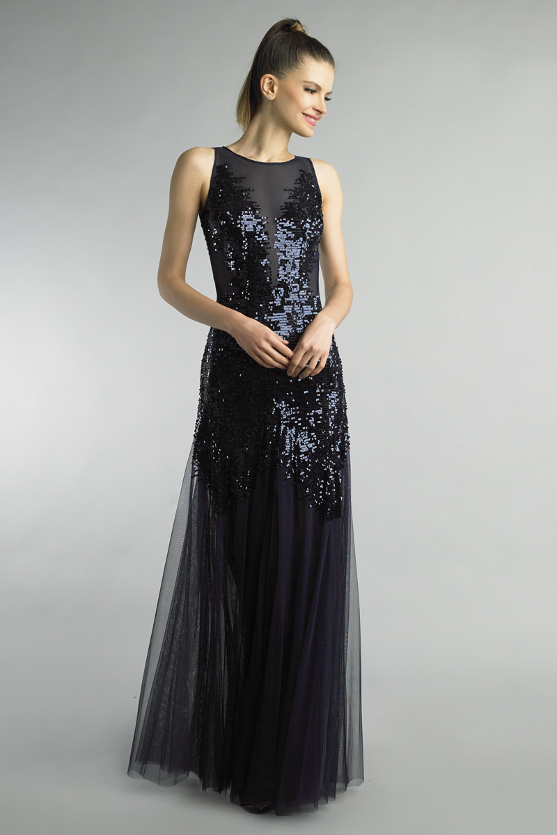 D9655L | Basix Black Label Sequined sleeveles evening dress |