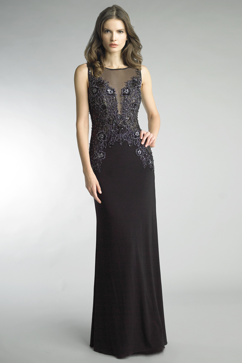 D9659L | Basix black label sleeveless beaded and sequin gown |