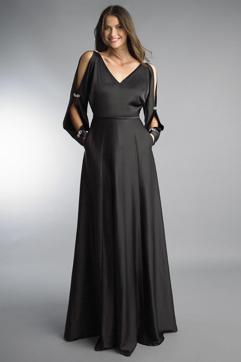 D9738L | Basix Black Label Rhinestone Embellished Split Sleeve Satin Gown |