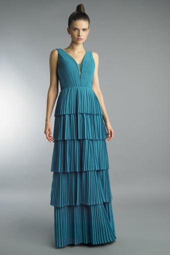 basix black label tiered pleated sleeveless evenign dress