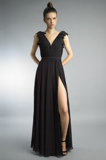 ruffle collar evening dress by basix black label