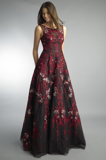 Basix black label embroidered ballgown