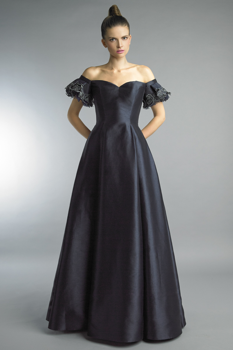 D9887L | Off shoulder gown with sweetheart neckline by basix black label |