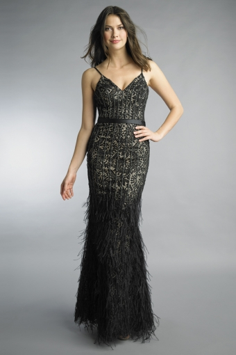 basix black label feather and crystal dress