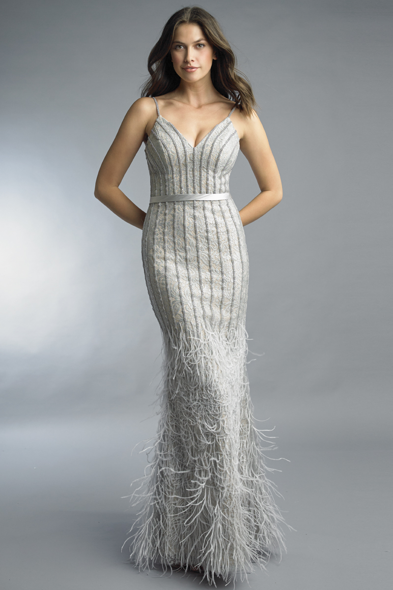 D9923L | basix black label feather and crystal dress |