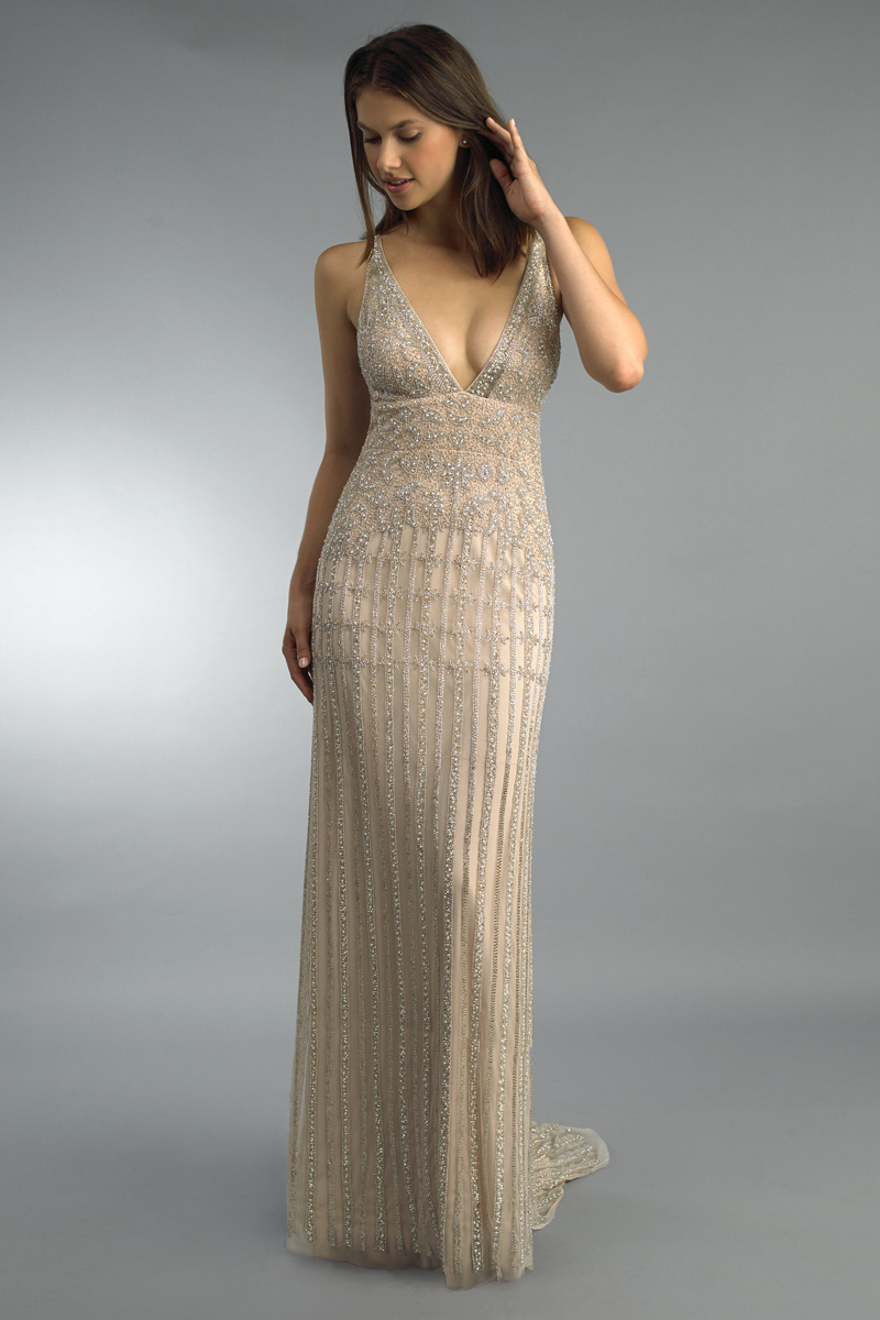 D9944L | Beaded spaghetti strap gown with train by basix black label |