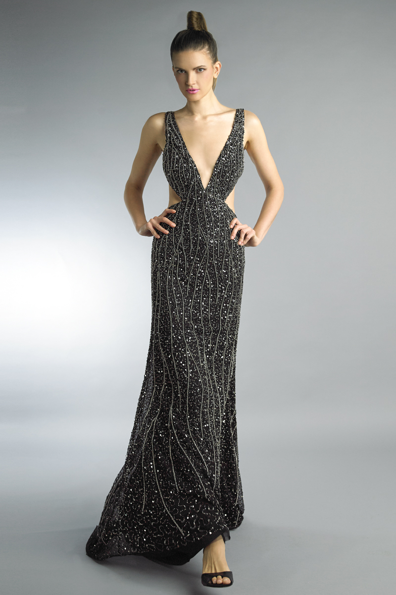 D9974L | Basix black label beaded gown |