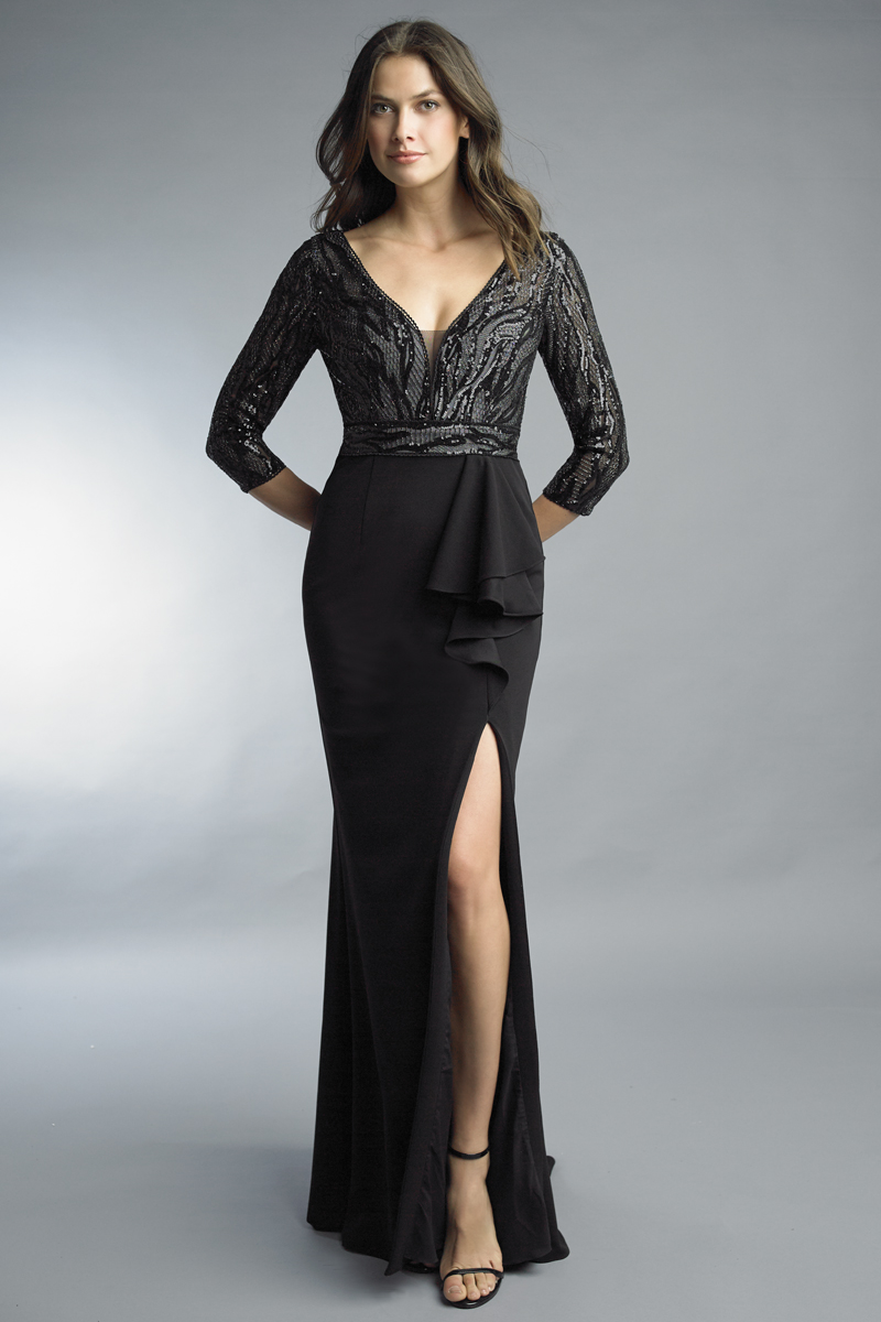 D9976L | Basix black label three quarter sleeve gown |