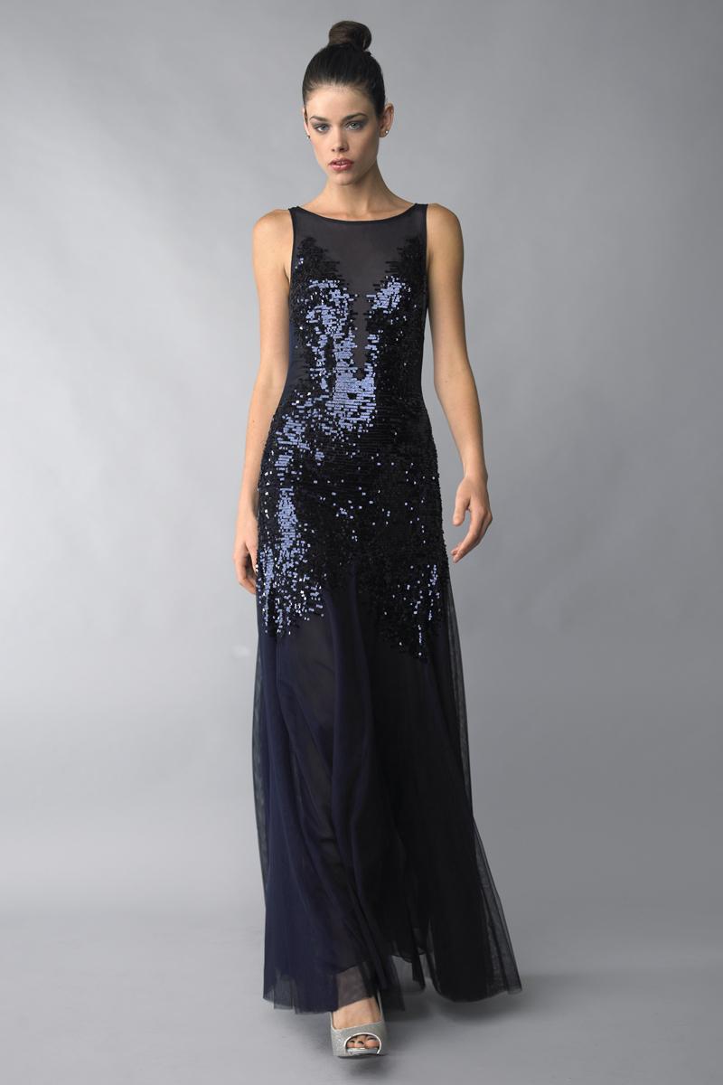 D5974L | basix black label sequin evening dress |