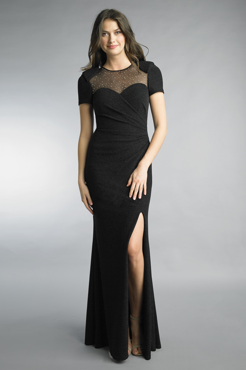 D9750L | Basix Black Label Short Sleeve Evening Gown |