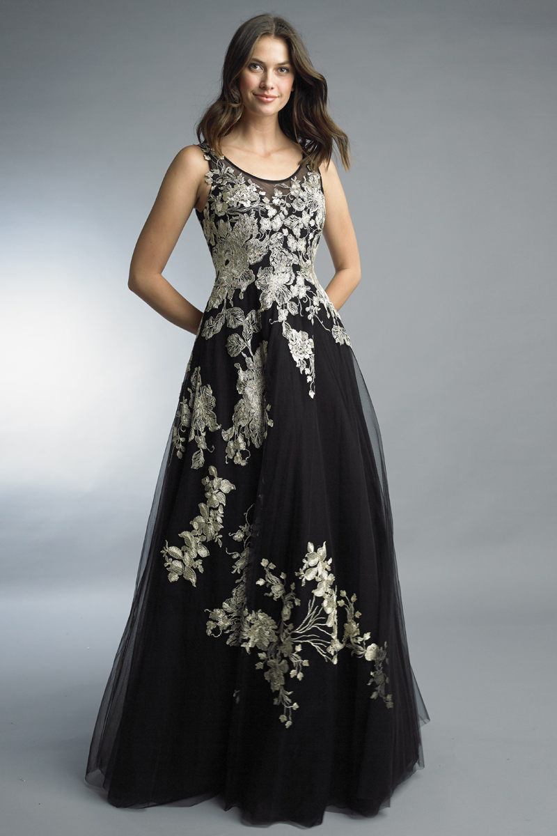 D1015L | Floral embroidered sleeveless a line gown by basix black label |
