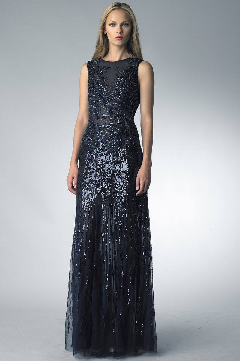 D9687L | basix black label sequined sleeveless gown |