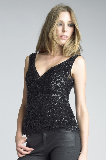 basix black label sequined v neck top